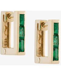 Lizzie Mandler - Petit Square Emerald 'huggies' Earrings - Lyst