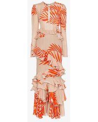 Johanna Ortiz - California Dreaming Long Sleeve Palm Print Dress - Lyst