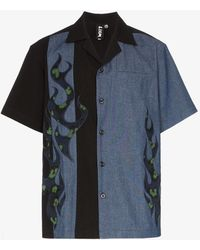 Liam Hodges - Fire Ball Two Tone Short-sleeved Cotton Shirt - Lyst