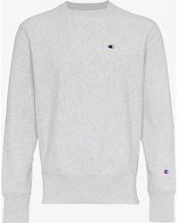 Champion - Grey Reverse Weave Terry Cotton Sweatshirt - Lyst