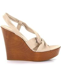 c73692e51e2 Gianvito Rossi - Sandals Calfskin Smooth Leather Wood Beige-combo Brown -  Lyst