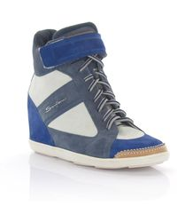 1e9e07306fe2 Hogan Rebel 90mm Two Tone Calfskin Wedge Sneakers in Natural - Lyst