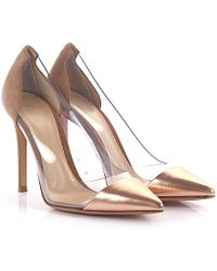 Gianvito Rossi - Court Shoes Plexi Leather Suede Bronze Praline - Lyst