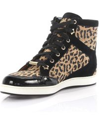 b034961754c ... coupon code jimmy choo sneakers high tokyo suede patent leather black  cork mesh leopard print lyst