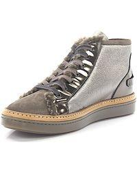 Chaussures De Sport Mi-cuir De Couleur Taupe Argent En Peau D'agneau Attilio Giusti Leombruni RujTJUvHA