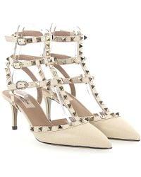 Valentino   Court Shoes Rockstud Leder Beige Grain Nieten Gold   Lyst