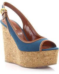 Sergio Rossi - Wedge Sandals Plateau Strappy Canvas Blue - Lyst