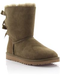 Ugg | Boots Bailey Bow 2 Suede Oliv Lamb Fur | Lyst