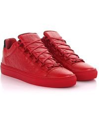 Sneakers Arena Low leather red crinkled Balenciaga DQ9Ag