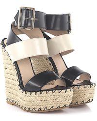 Elie Saab - Wedge Sandals 92750 Plateau Leather Black Ivory Bast - Lyst