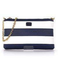 Dolce & Gabbana - Hand Bag Micro Bag Cross Body Fabric-mix Stripes Blue White - Lyst