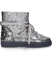 Inuikii - Ankle Boots Trainer Leather Studs Sequins Fur Upper Silver - Lyst