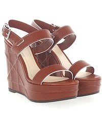 Dior - Wedge Sandals Yacht Skóra Brązowe - Lyst
