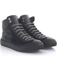 Jimmy Choo | Trainers Argyle High Top Leather Black Velvet Grey | Lyst