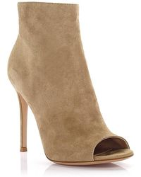 Gianvito Rossi - Peeptoe Ankle Boots Lais Bootie Suede Beige - Lyst