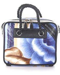 7d56c69fd623 Balenciaga - Shoulder Bag Blanket Square S Leather Flower Print Blue - Lyst