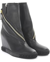 Casadei | Wedge Ankle Trainer Leather Black | Lyst