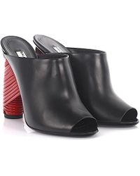 Balenciaga - Mules Calfskin Smooth Leather Black Red - Lyst