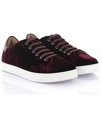 Gianvito Rossi - Sneaker Low Loft Leather Velvet Bordeaux - Lyst
