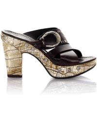 Platform Sandals leather brown crocodile embossing rivets Henry Beguelin Cheap Sale Reliable Classic For Sale NhKQ1jUv
