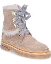 Agl Attilio Giusti Leombruni - Ankle Boots D717576 Rabbit Fur Suede Beige-combo Taupe - Lyst