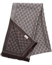 Gucci - Scarf 3g200 Cotton Logo Beige Brown - Lyst