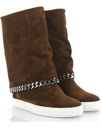 718137646b3 Casadei - Boots Calfskin Suede Decorative Chain Brown - Lyst