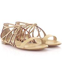 c12372db4 Casadei Flat Sandals - Black gold in Black - Lyst