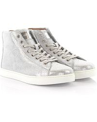 Gianvito Rossi - Sneakers High S28230 Leather Silver Finished - Lyst