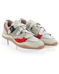 Sneakers SONNIE calfskin cotton nylon polyester smooth leather Logo beige Chloé 2L3TQf
