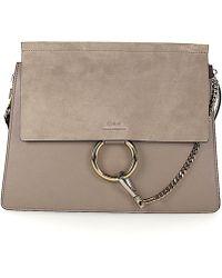 Chloé - Shoulder Bag Faye Leather Suede Grey - Lyst