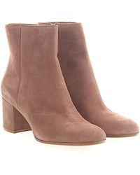 Gianvito Rossi - Boots Margaux Mid Bootie Suede Beige Pink - Lyst