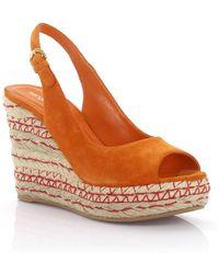 Sergio Rossi - Wedge Sandals Plateau Suede Orange - Lyst