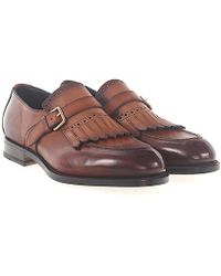 Santoni - Single-monk Calfskin Finished Hole Pattern Brown - Lyst