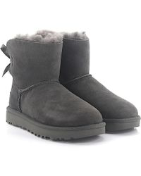 UGG - Ankle Boots Mini Bailey Suede Grey Lamb Fur - Lyst