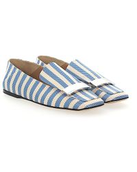 Slip On Shoes A77990 rabbit fur Metal buckle light blue Sergio Rossi QYkprZM17u