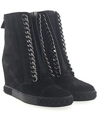 Casadei | Wedge Trainers 2r642 Suede Black Chain Ornament | Lyst