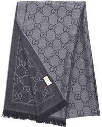 39f93de78 Gucci Unisex Scarf 3g200 Wool Logo Grey Black