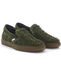 Jimmy Choo - Slip-on Sneakers Grove Suede Green Stars - Lyst