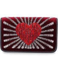Les Petits Joueurs - Women Handbag Ginny Velvet Sequins Bordeaux - Lyst