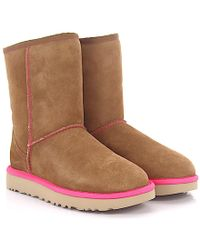 Ugg | Boots Classic Short 2 Neon Suede Brown Lamb Fur | Lyst