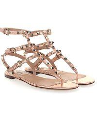 Valentino - Sandals Rockstud Leather Rosé Metallic Rivets Gold - Lyst