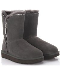 UGG - Boots Florence Suede Grey Lamb Fur - Lyst