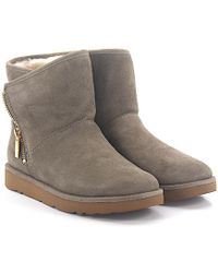 UGG - Ankle Boots Lamb Fur Suede Logo Grey - Lyst