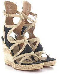 8551f42afa41 Balenciaga - Wedge Sandals Strap Leather Beige Fabric Black - Lyst