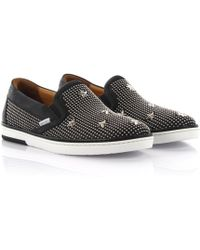 Jimmy Choo - Sneakers Slip On Grove Leather Black Studs Stars Silver - Lyst