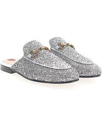 Gucci - Slipper Princetown Fabric Glitter Silver Horsebit-detail - Lyst