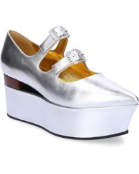 Gucci - Wedge Pumps 537158 Nappa Leather Silver - Lyst
