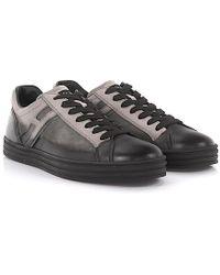 Hogan Rebel - Sneakers R141 Leather And Suede Black Grey - Lyst