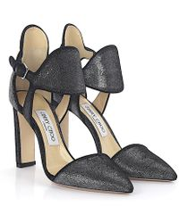 Jimmy Choo - Court Shoes Moon 100 Ankle Strap Velvet Anthracite - Lyst